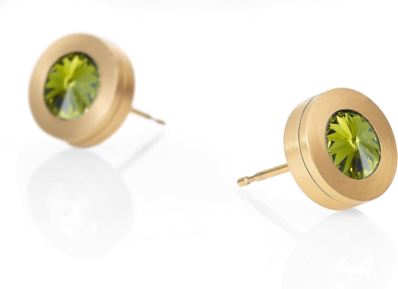 Heideman Earrings Ladies Colori pendientes de acero inoxidable color oro mate para las mujeres con cristal Swarovski piedra verde oliva fantasía gema corte 6mm