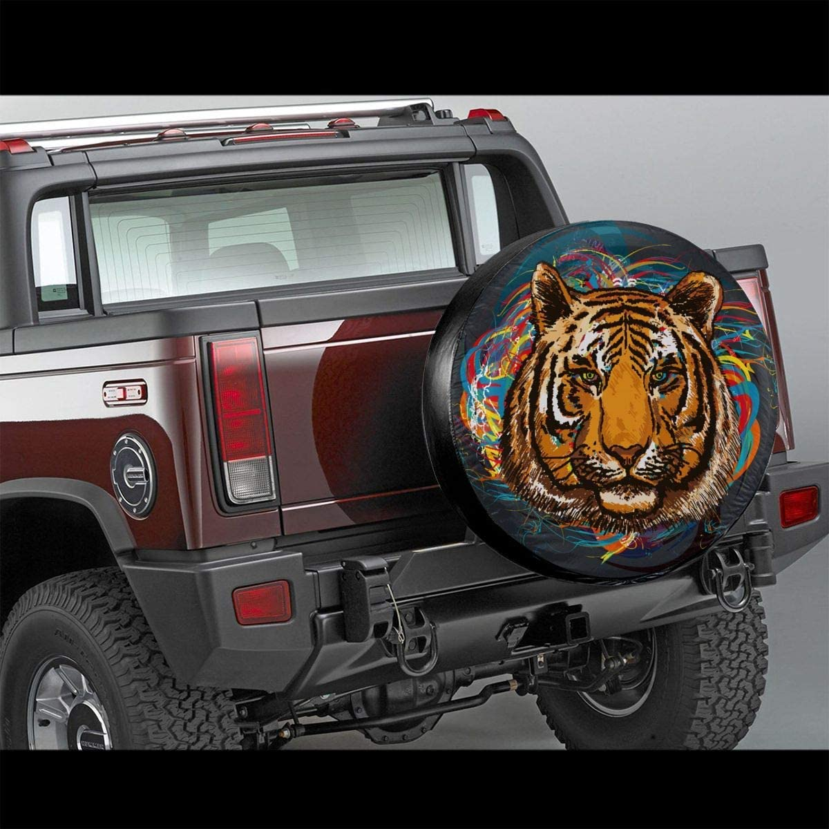 Fits Entire Wheel Xhayo Animal Art Tiger Head Wheel Cover Wheelcover Spare Tyre Tire for SUV,RV,Trailer,Truck Wheel