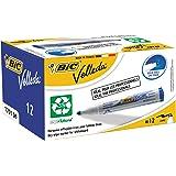 BIC Velleda 1701 Ecolutions Feutres Effaçables à Sec - Bleu, Boîte de 12