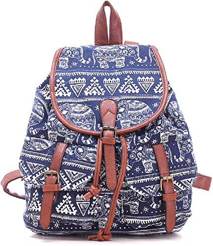 Urmiss Vintage Printed Leisure Canvas Shoulder Backpack Bookbags Travel Bag Elephant Blue