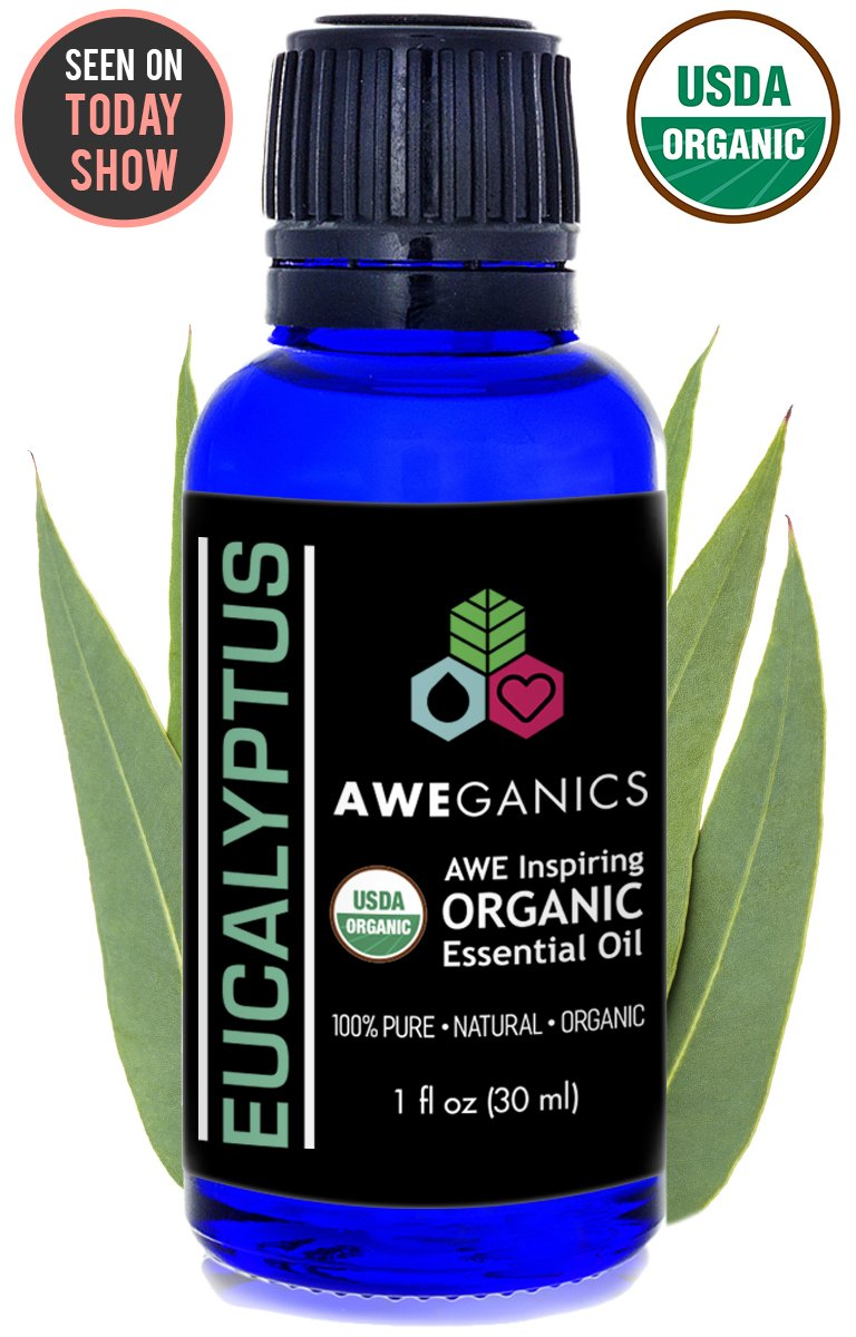 Aweganics Pure Eucalyptus Oil USDA Organic Essential Oils, 100% Pure Natural Premium Therapeutic Grade, Best Aromatherapy Scented-Oils for Diffuser, Home, Office, Personal Use - 1 OZ - MSRP $19.99 by AWEGANICS (Image #1)
