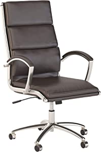 Bush Business Furniture 400 Series High Back Leather Executive Office Chair in Brown with Chrome