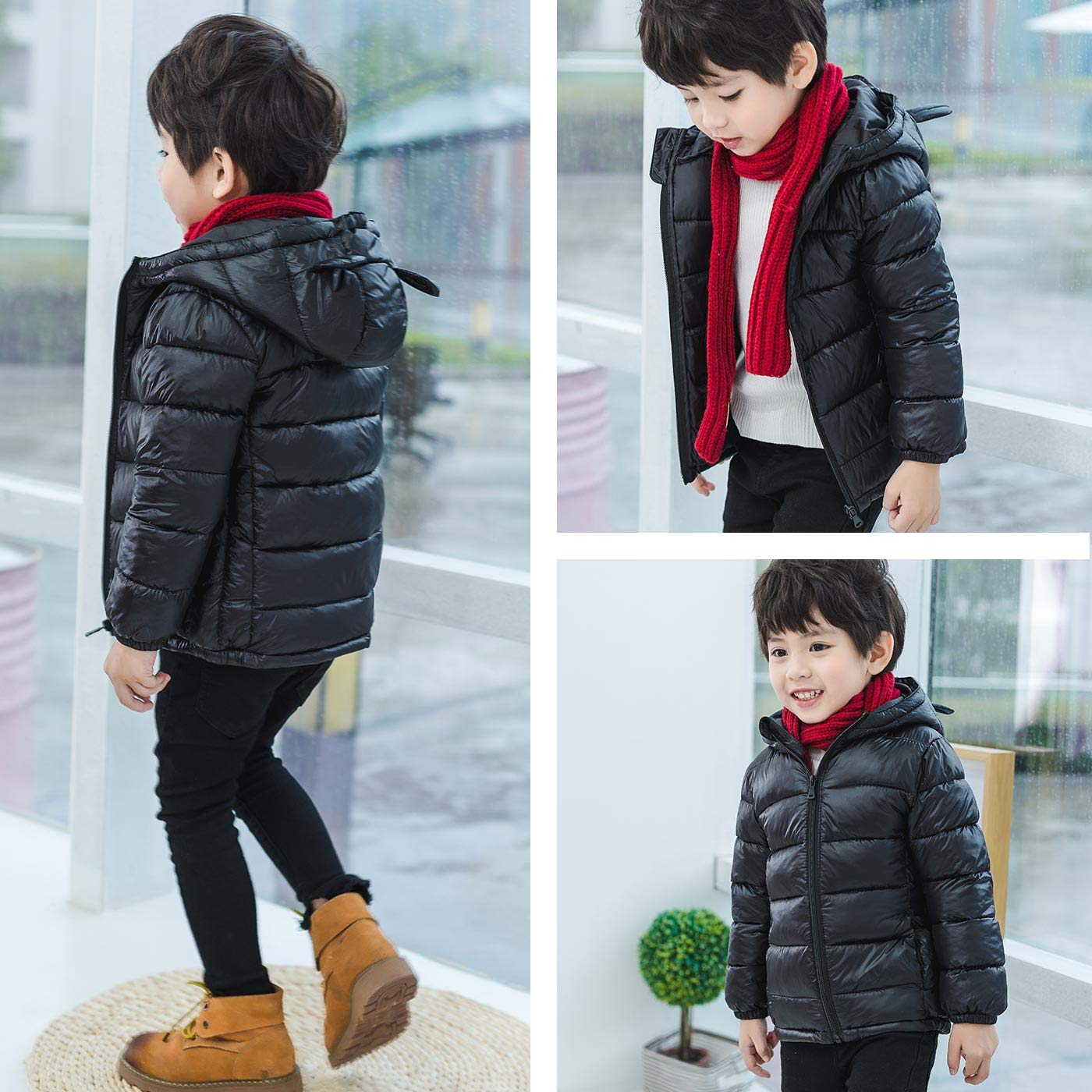 Infant Print Warm Jacket Zipper Cartoon Coat Windproof Unisex Outwear Cotton Pattern Outerwear Light Puffer Down Hoodie Winter Cute Clothes Black 5-6t