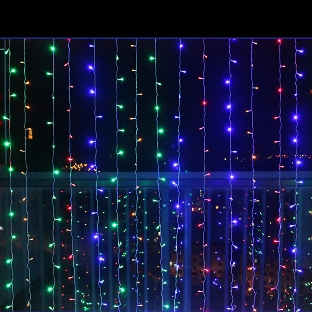 JESLED LED Window Curtain Icicle Lights, 3m x 1.5m/9.8ft x 4.9ft, 144 LEDs Transparent RGB String Curtain Light, 8 Modes String Lights, for Wedding Party Garden Holiday Decoration