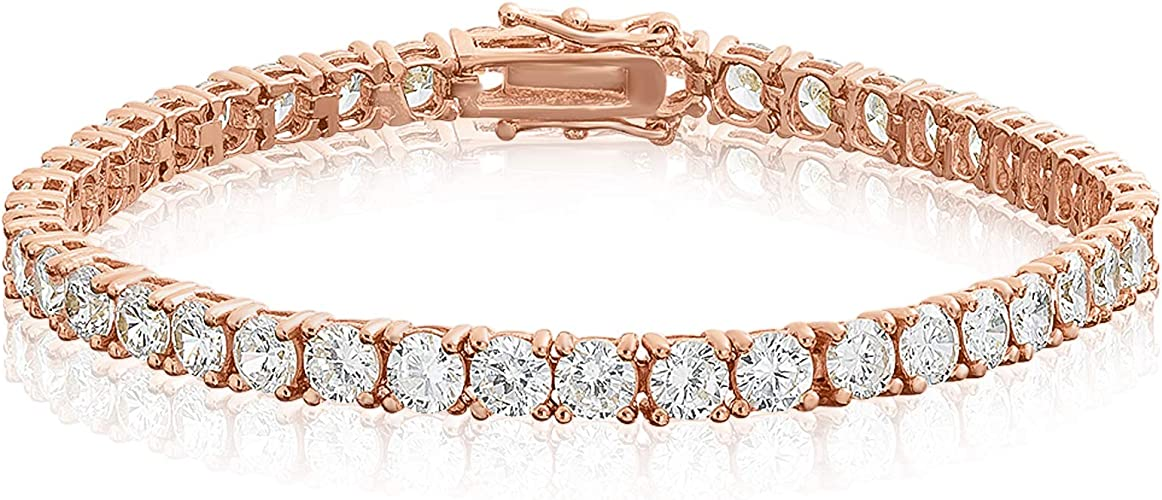 """Sale! 14K Rose Gold Plated White Gold Plated Luxury Tennis Bracelet 7.5/"""" Inches"""