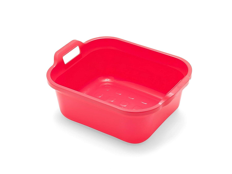 ADDIS Bassine rectangulaire avec poignées, Plastique, Rouge Grenade, 39 x 32 x 14 cm