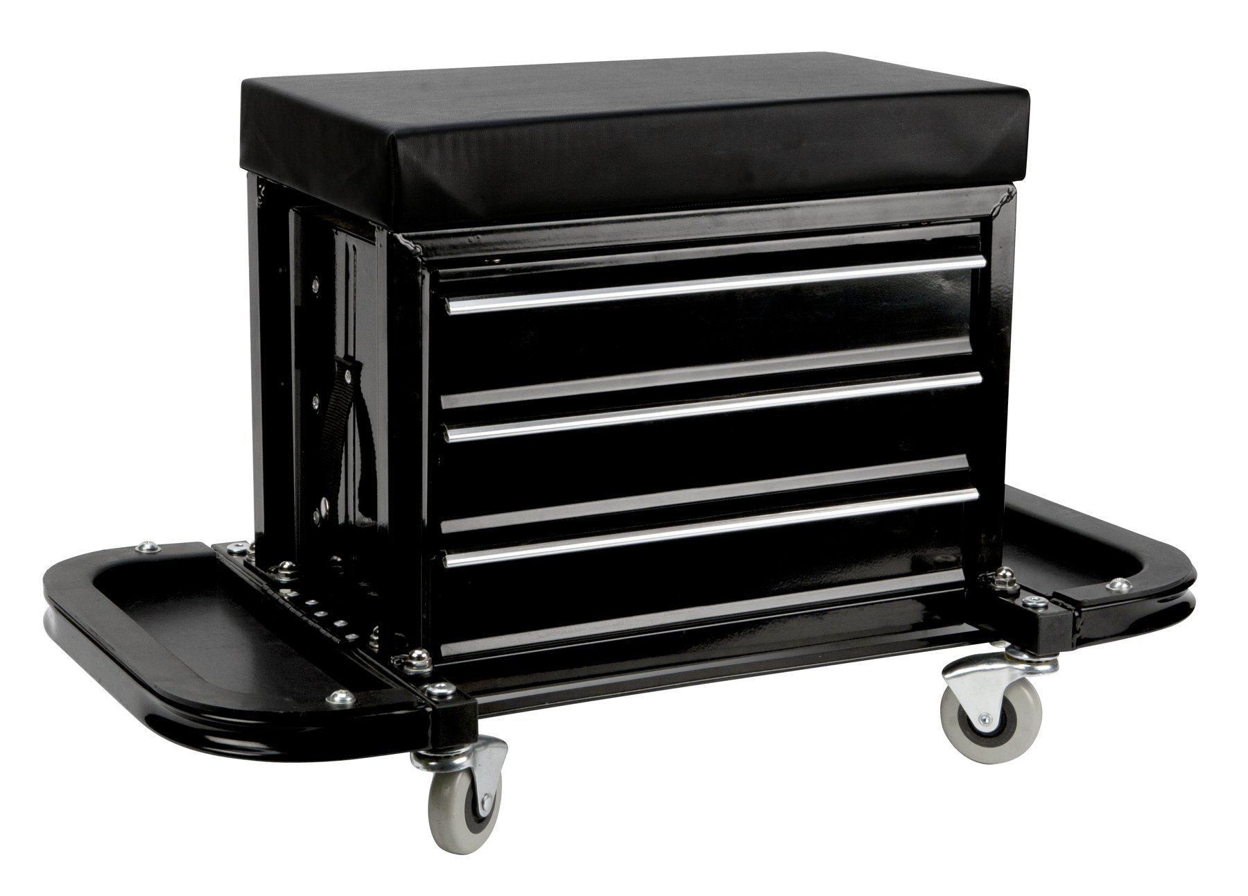Performance Tool W85025 3-Drawer Rolling Tool Chest Seat with Magnetic Side Trays by Performance Tool