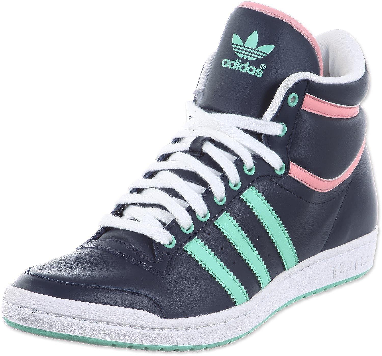 adidas originals womens top ten hi sleek trainers white black