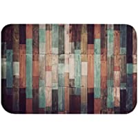 A.Monamour Non-Slip Water Absorbent Washable Bath Mat Grunge Old Colorful Wooden Planks Background Soft Flannel Mat Rug…