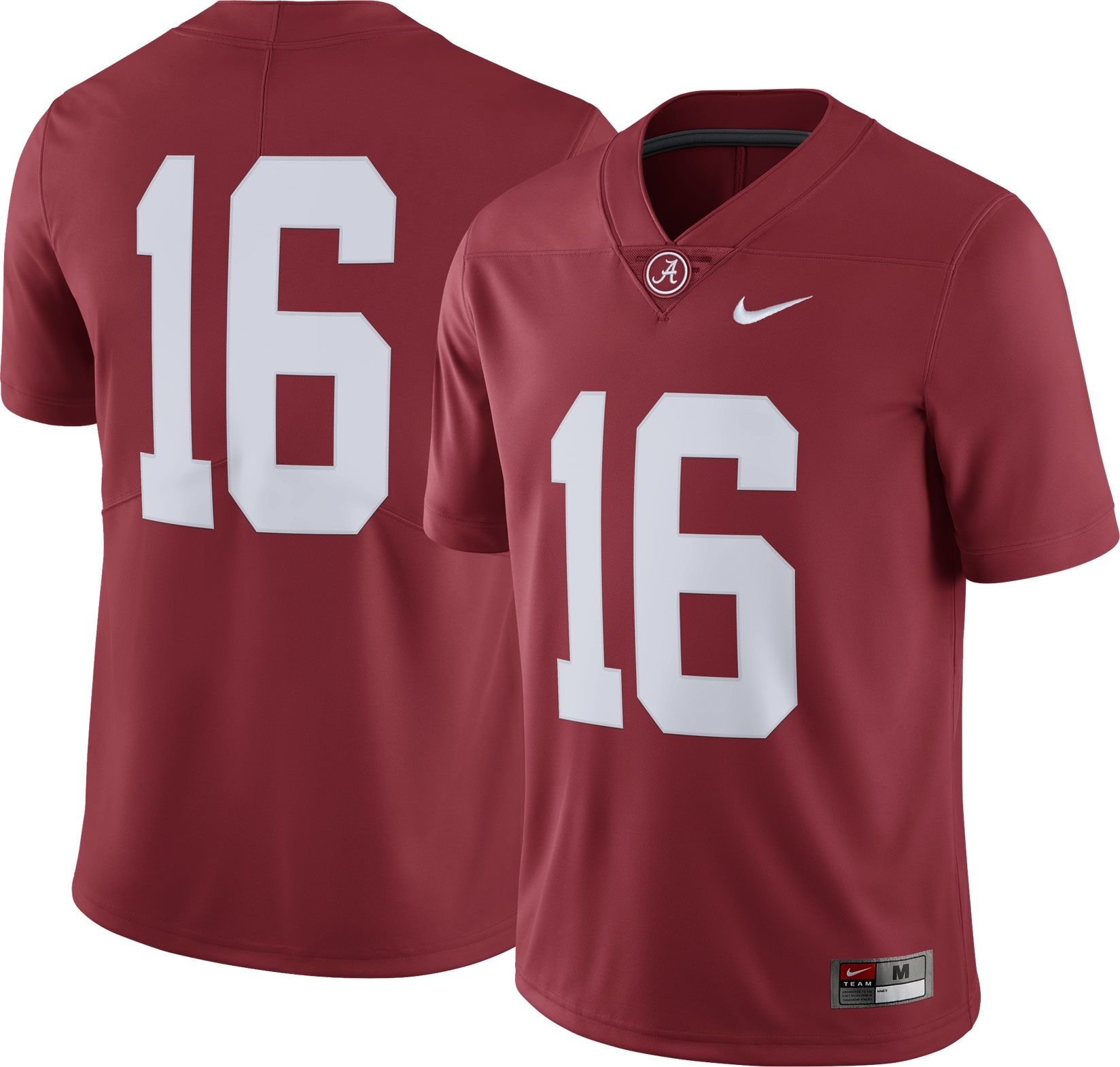 Nike Men's Alabama Crimson Tide #16 Crimson Limited Football Jersey (M)