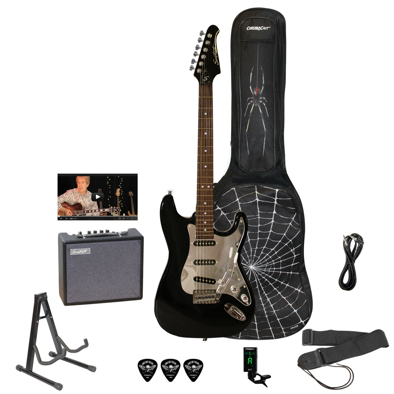 Sawtooth ST-ES-SPIDER-KIT3-BKC ES Electric Guitar Rockin' Beginner's Pack with Chrome Pickguard