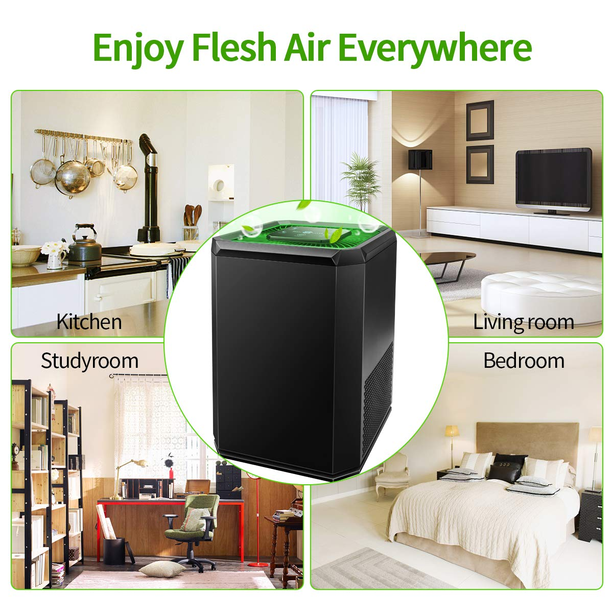 Keenstone Air Purifier for Home with HEPA Filter, Air Cleaner with 3 Stage Filtration System 3 Fan Speed