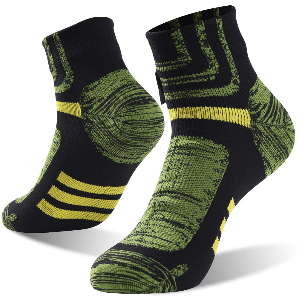 Tennis Socks, RANDY SUN Men and Women Running Comfort Ankle Athletic Outdoor Sports Breathable 100% Waterproof Socks, 1 Pair-Black&Green-Ankle socks,Small by RANDY SUN