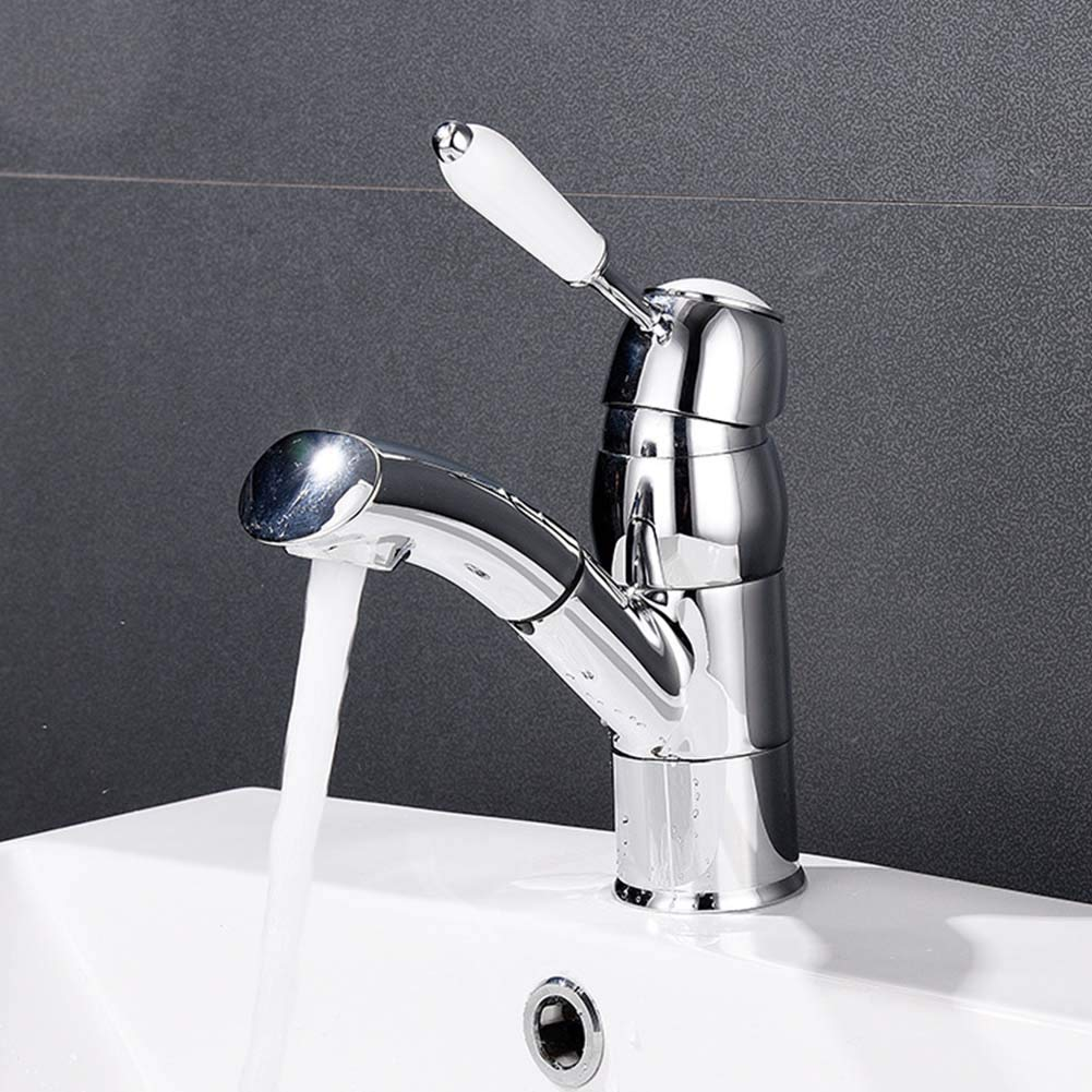 JTY Commercial Single Handle Pull Down Sprayer Brushed Nickel Kitchen Faucet Kitchen Sink Faucet with Deck Plate Rotating Single Hole Faucet
