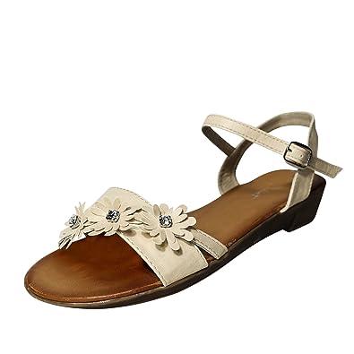 Damen Sandalen Sandaletten Keilabsatz ST43 Blumen Glitzer Zehentrenner (38, Rot) Schuhtraum
