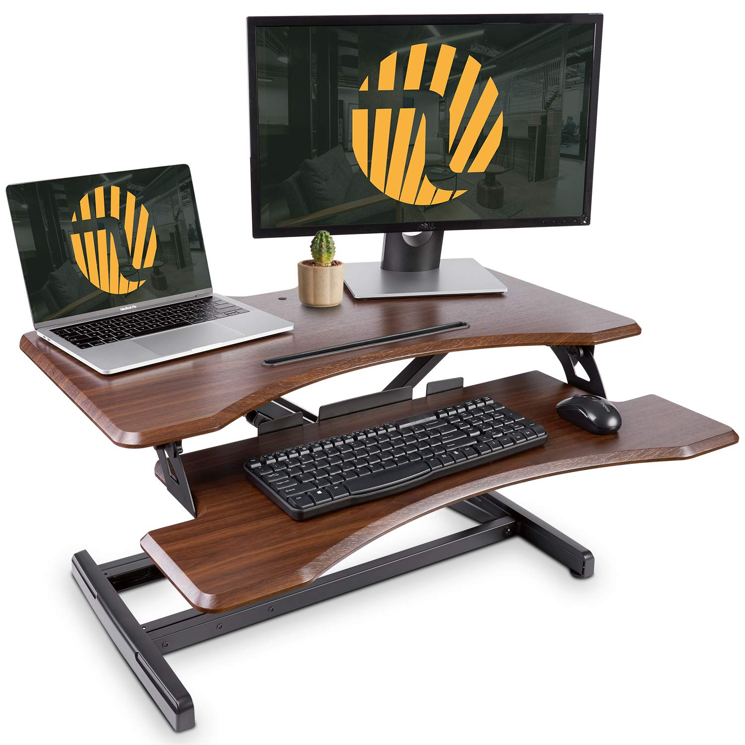 Standing Desk with Height Adjustable - FEZIBO Stand Up Desk Converter, 33 inches Dark Wood Ergonomic Tabletop Workstation Riser fits Dual Monitors by FEZIBO