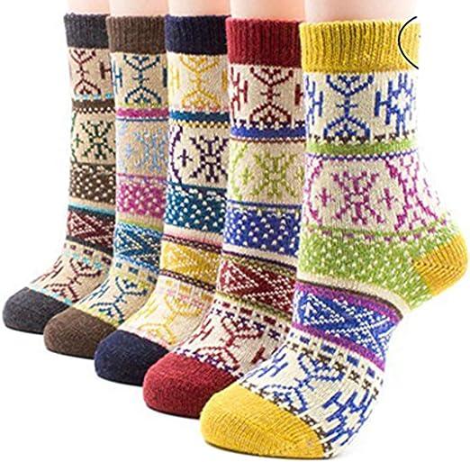 TALLA Talla única. Vellette Calcetines mujeres calcetines de invierno caliente suave cómodo Calcetines de la historieta térmicos varios diseños/colores Adulto mujer Calcetines (5 pares)