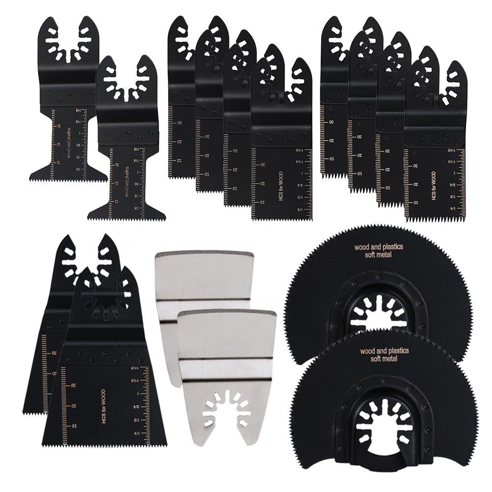 HIFROM Professional Oscillating Multi Tool Quick Release Wood/Metal Saw Blades for Fein Multimaster, Dremel Multi-Max, Dewalt, Craftsman, Ridgid, Makita, Milwaukee, Rockwell, Ryobi and More (16 pcs)