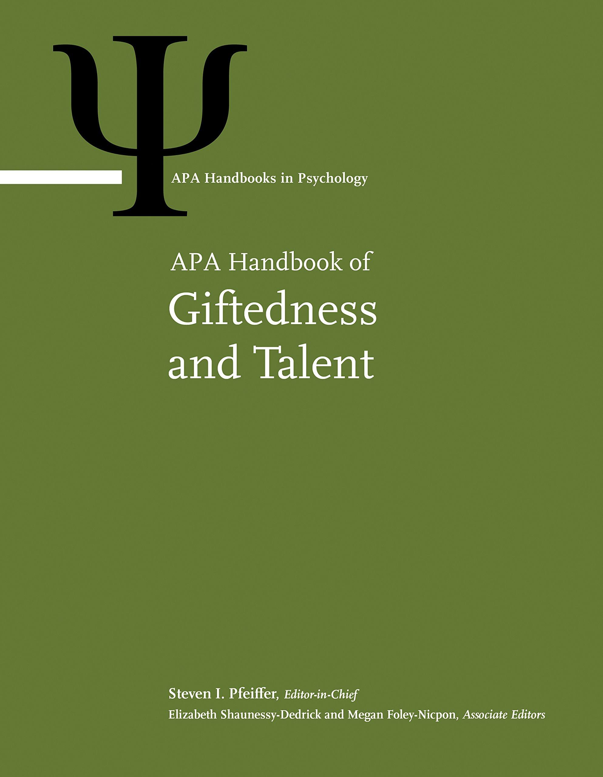 APA Handbook Of Giftedness And Talent  APA Handbooks In Psychology