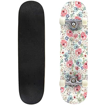 "Seamless Flower Pattern Vector Illustration Outdoor Skateboard 31""x8"" Pro Complete Skate Board Cruiser 8 Layers Double Kick Concave Deck Maple Longboards for Youths Sports : Sports & Outdoors"