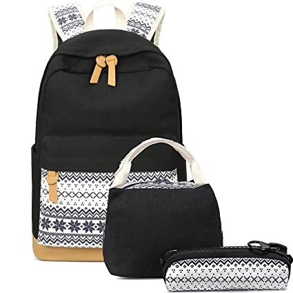 6d82152ae21 School Backpacks for Teen Girls Lightweight Canvas Backpack Bookbags Set