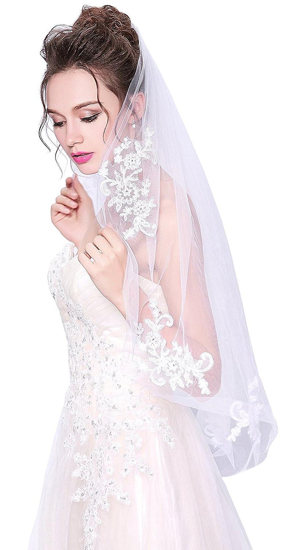 Womens 1T Bridal Veil With Rhinestones Elbow Length Wedding Veil Tulle