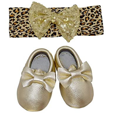 Unique Baby Girls 2 Piece Leopard Print Headband and Bow Moccasins Set XXS (4.2""