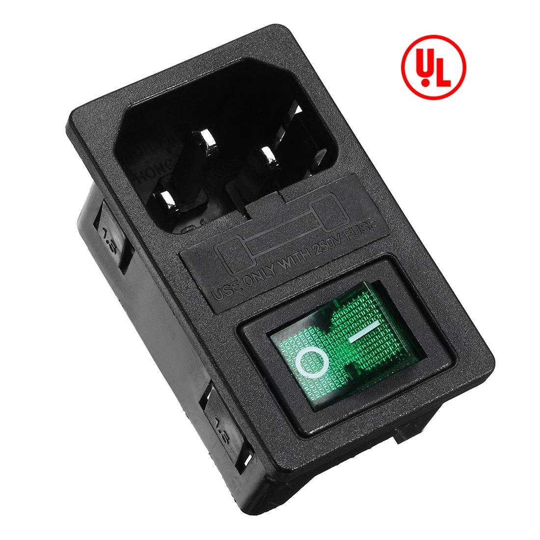 Amazon.com: uxcell Green Rocker Switch Fuse Holer IEC320 C14 4P DPST ...