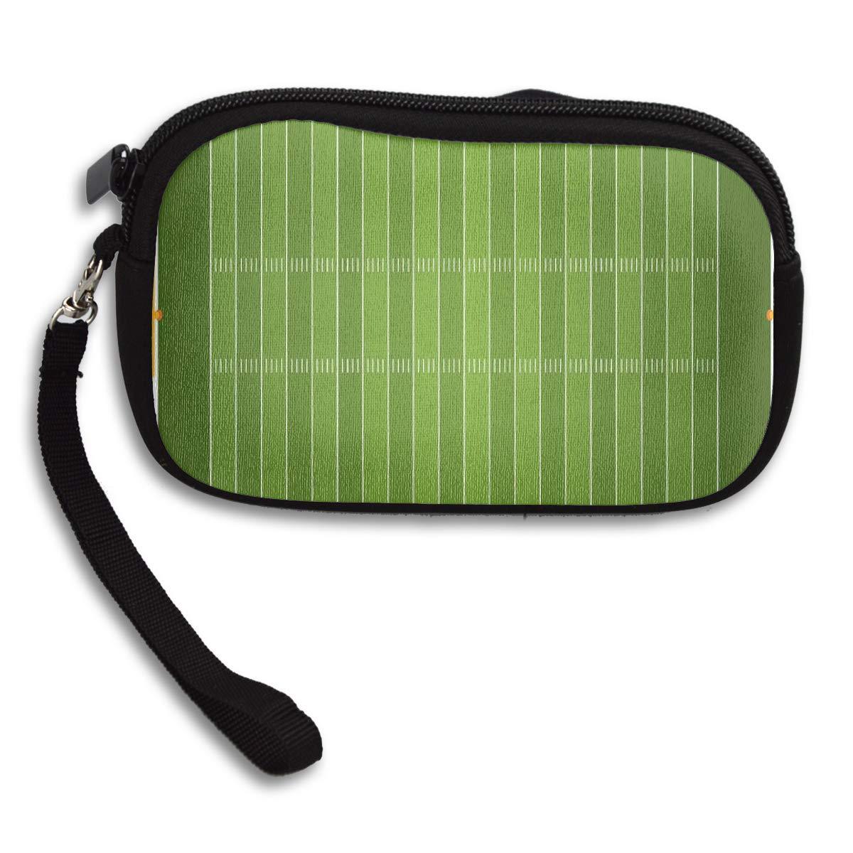 Football Sports Field Green Yard Games Coin Pouch Clutch Purse Wristlet Wallet Phone Card Holder Handbag