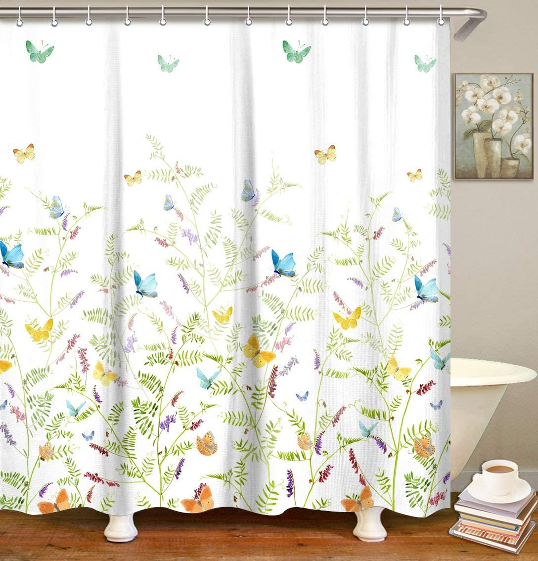 """LIVILAN Fabric Floral Butterfly Shower Curtain Set with 12 Hooks, Decorative Bath Curtain Modern Bathroom Accessories, Machine Washable, Colorful Flowers and Green Leaves Pattern, 72"""" X 72"""""""