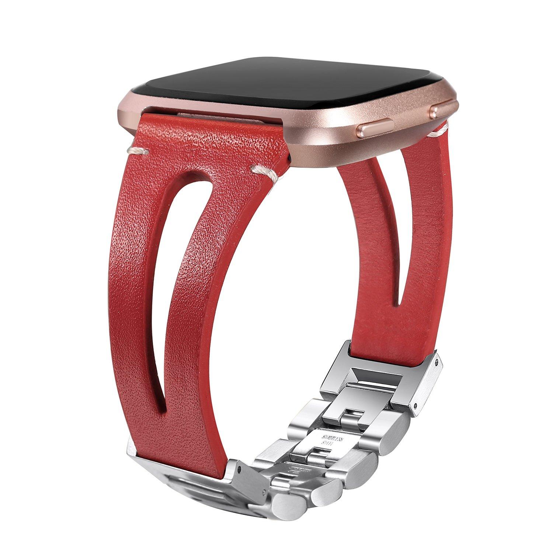 bayite Leather Bands Compatible Fitbit Versa, Handmade Replacement Bracelet Straps Women Men Black