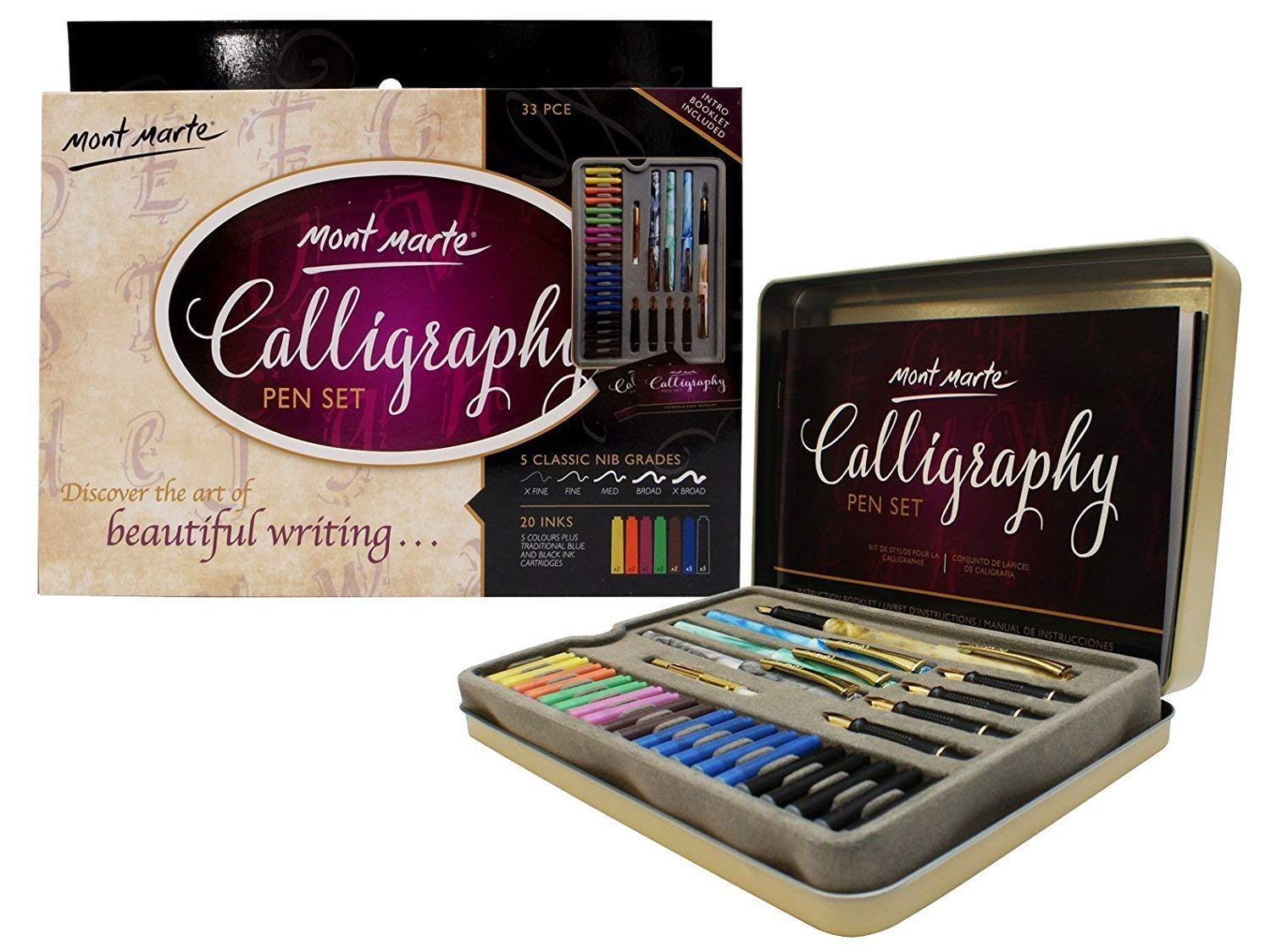 Mont Marte Calligraphy Set, 33 Piece. Includes Calligraphy Pens, Calligraphy Nibs, Ink Cartridges, Introduction Booklet and Exercise Booklet. by Mont Marte