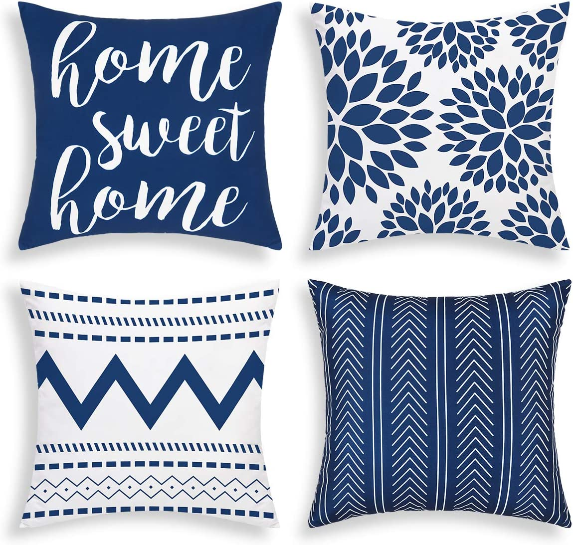 Yastouay Geometric Throw Pillow Covers Set of 4 Modern Decorative Pillowcases Home Sweet Home Pillow Covers Outdoor Cushion Covers for Couch Sofa Bedroom(Blue, 18 x 18 Inch)