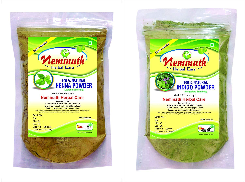 100% Natural Henna Leaves (LAWSONIA INERMIS) Indigo Leaves (INDIGOFERA TINCTORIA) Powder (PACK OF 2) (454 g) Neminath Herbal