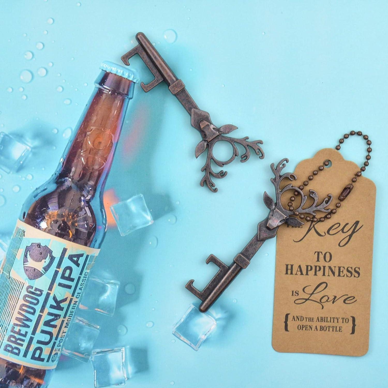 Copper-Deer-2 Wedding Favors Key Bottle Opener Rustic Decoration with Escort Tag Card DerBlue 40 PCS Key Bottle Openers,Vintage Skeleton Key Bottle Opener