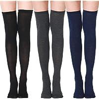 XDDIAS Calcetines Altos de Muslo, 3 Pares Calcetines Hasta la Rodilla Apto Elasticidad Calcetines Largos para Mujeres