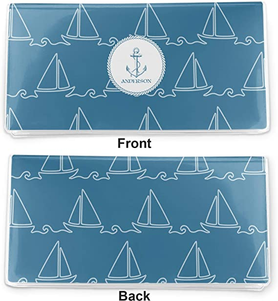 Personalized Rope Sail Boats Vinyl Checkbook Cover