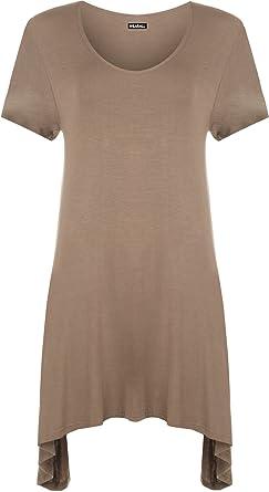 eacf926b585 WearAll Women s Plain Dipped Uneven Hem T-Shirt Top - Mocha - US 10 (