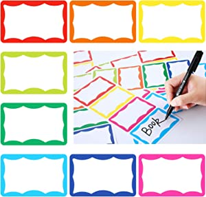 240 Pieces Name Tag Stickers Colorful Adhesive Labels Badge Stickers for School Office Supplies, 8 Colors (Style 1)