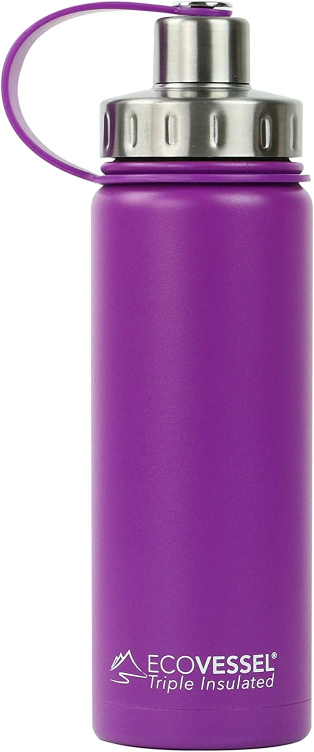 EcoVessel Boulder Vacuum Insulated Stainless Steel Water Bottle with Dual Opening Top and Tea, Fruit, Ice Strainer, 20 oz, Púrpura