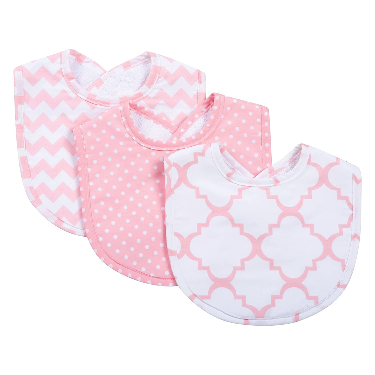 Trend Lab 3-Pack Bib Set, Pink Sky 102698