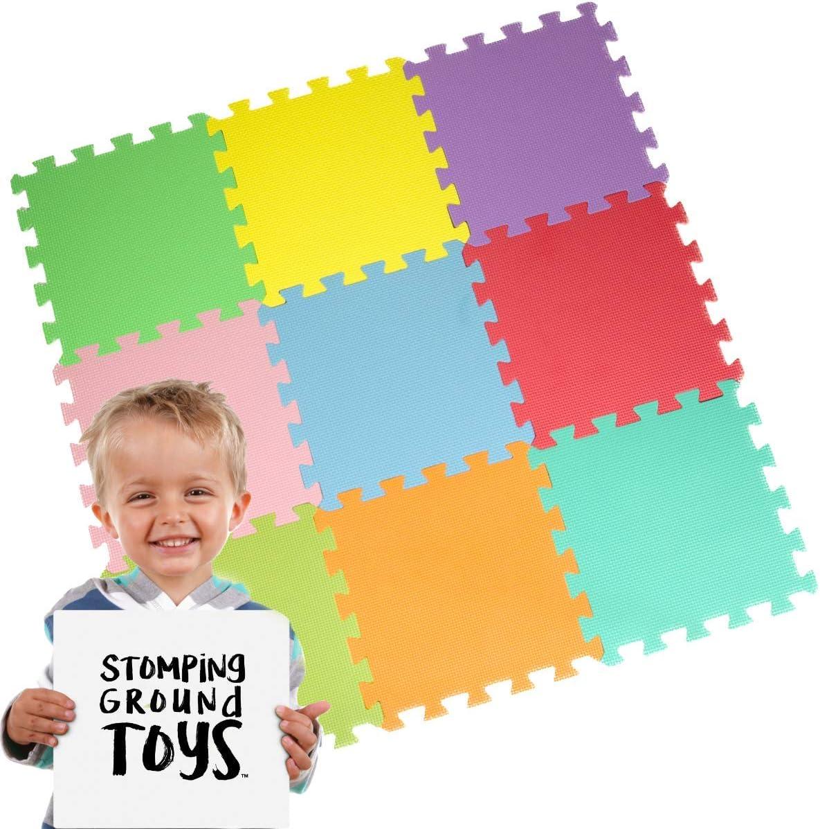 Stomping Ground Toys - 9 Alfombras Puzzle EVA Coloridas Alfombras de Foam Encajables para Actividades Infantiles en el Piso