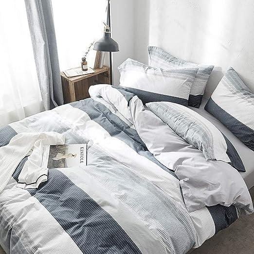 Amazon Com Vclife Cotton Grey Blue Queen Duvet Cover Sets For Boy