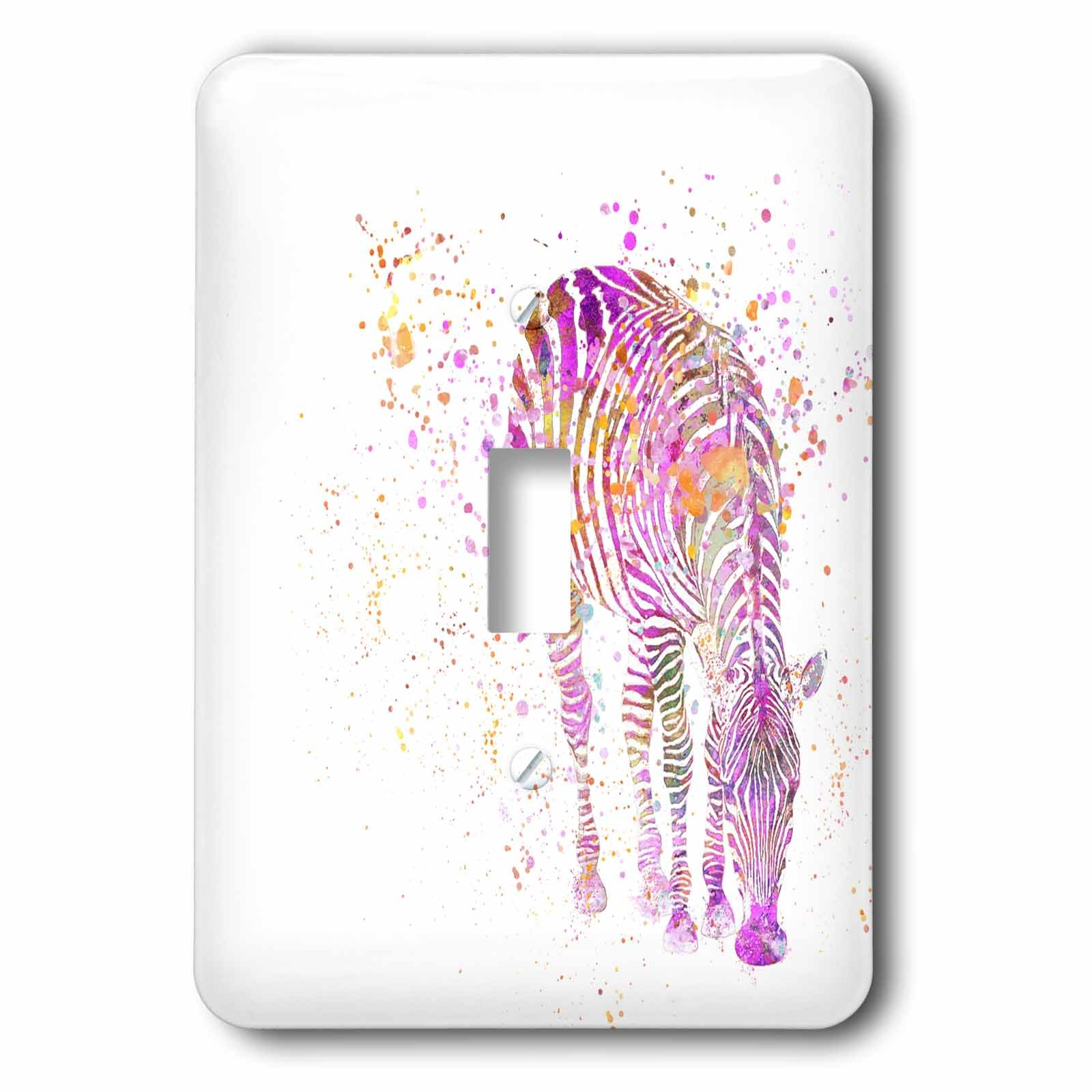3dRose Andrea Haase Animals Illustration - Artsy zebra illustration - Light Switch Covers - single toggle switch (lsp_264756_1)
