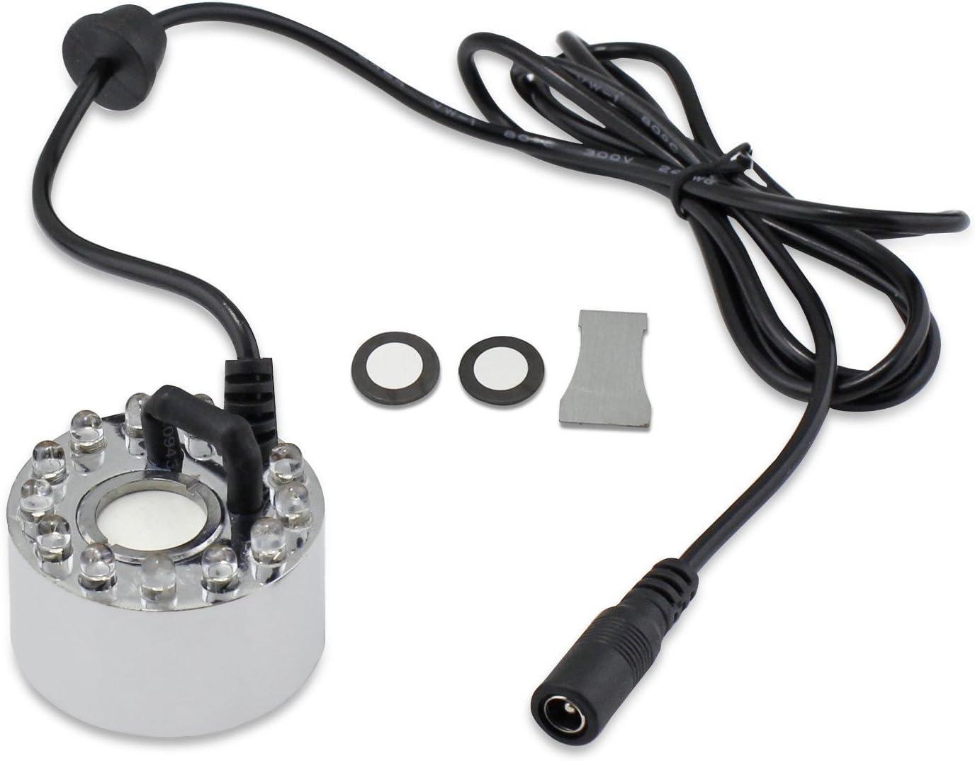 Fabricante de niebla ultrasónico, Shineus DC 24V 12 LED de luz de color Fogger Air Humidifier Atomizador Fuente de agua Pond con 2 piezas de atomización (Plata)
