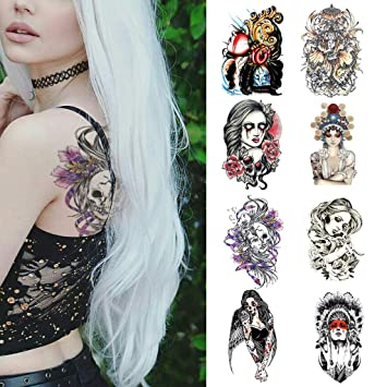 Amazon Com Cargen 8 Sheets Gothic Style Colorful Temporary Tattoo Unique Body Art Stickers Realistic Fake Tattoos For Adults Beauty
