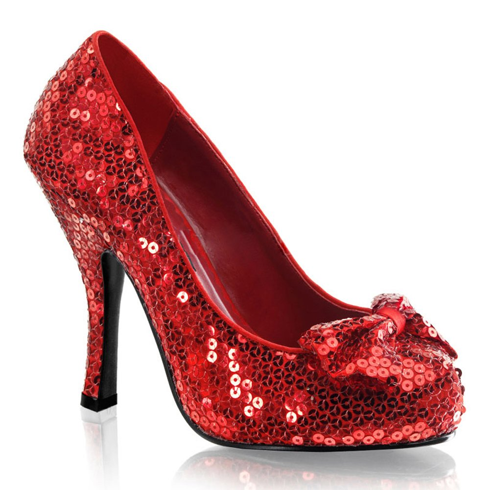 on feet shots of low priced top-rated authentic Womens Red Sequin Pumps Movie Costume 4 1/2 Inch Heel Closed Toe Sparkle Bow