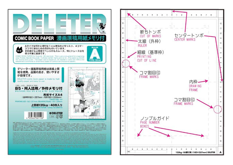 Papier à Dessin Manga - Deleter A4 TypeA 135kg 40 feuilles - Import Japon 2011032