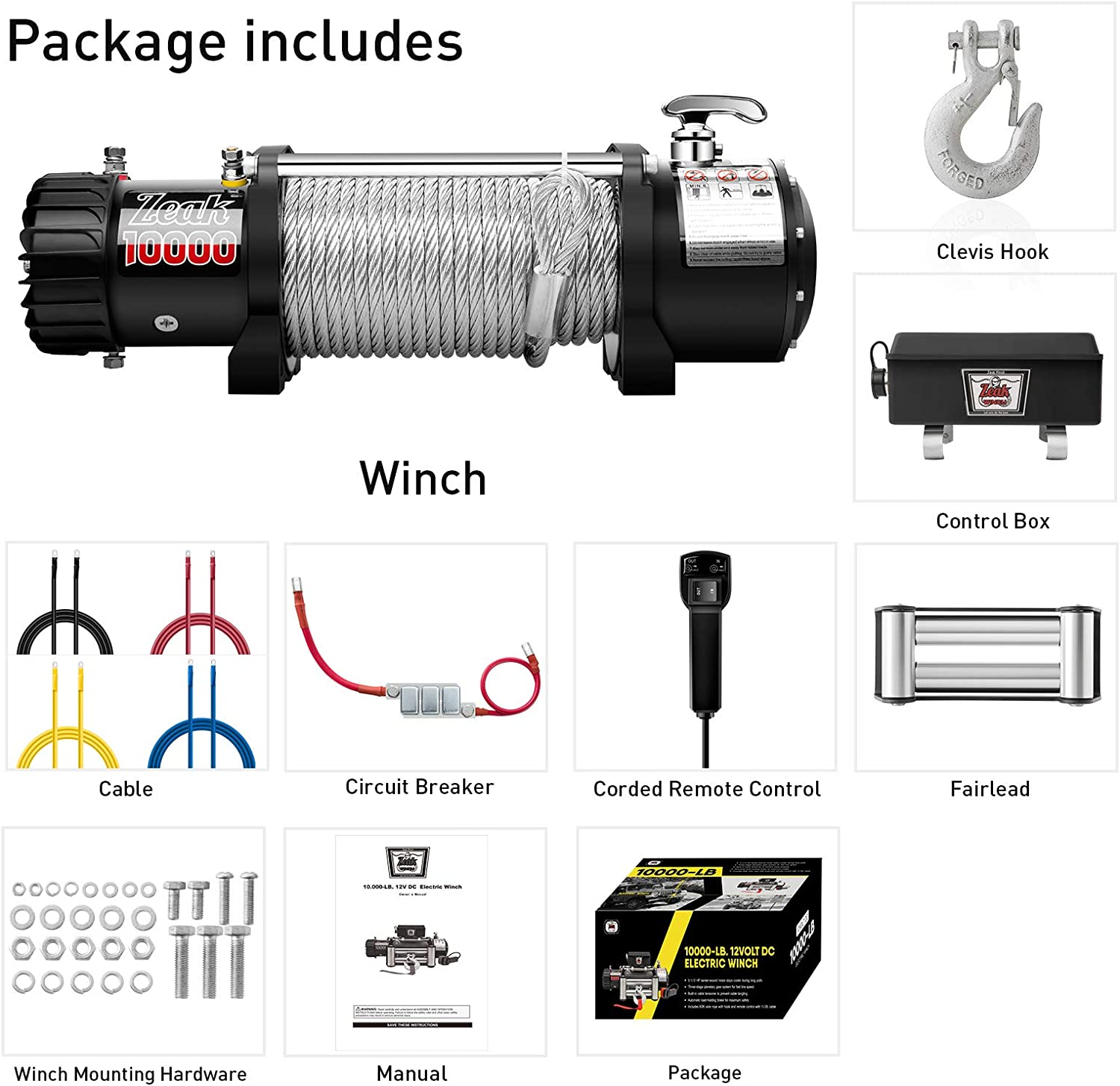 Advanced Electric Power Winch 12V DC Waterproof Galvanized ZEAK 10000lb for Jeep Truck Off Road Auto Wire Cable