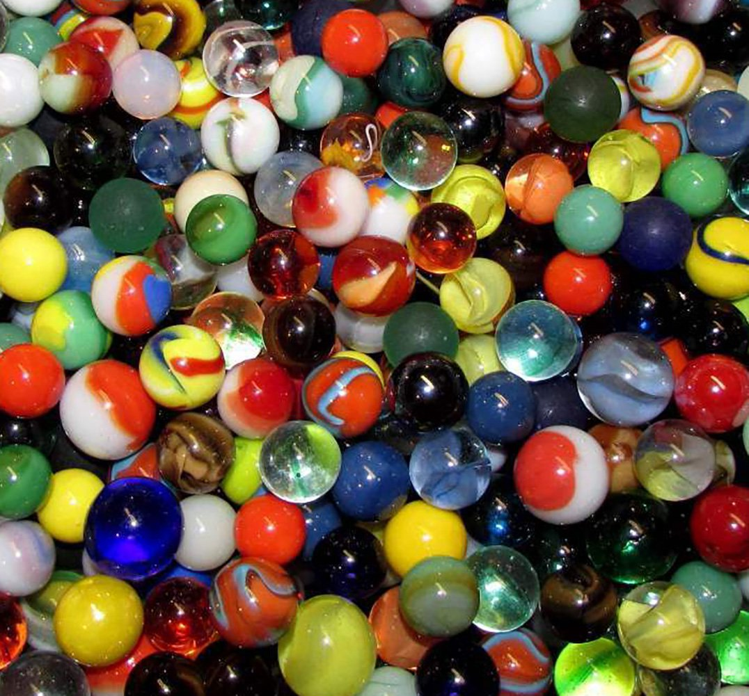 """Unique & Custom {Various Sizes 9/16'', 5/8'', 3/4'' Inch} 2 Pounds Of """"Round"""" Opaque & Clear Marbles Made of Glass for Filling Vases, Games & Decor w/ Random Fun Collectible Design [Assorted Colors]"""